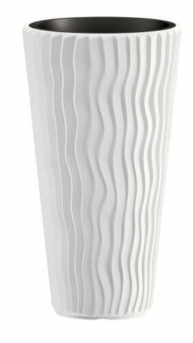 Lonček za rože SANDY SLIM + vložek bel 39 cm