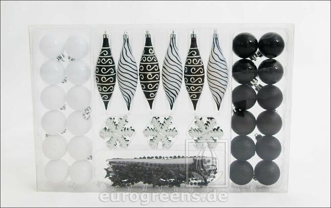 Set črno -belih božičnih okraskov 49 kosov