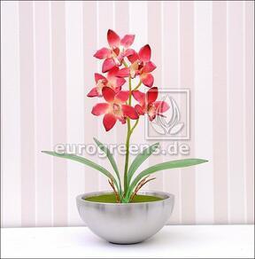Umetna rastlina Orchidea Cymbidium bordo rdeča 50 cm